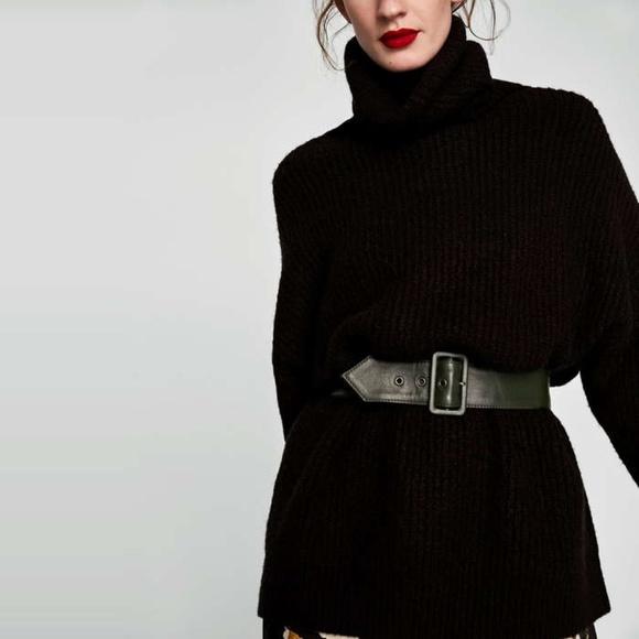 15004e2b90e9 Zara Oversized Roll Neck Sweater Black